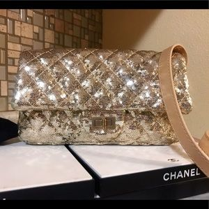Auth. Chanel $5600 Rare Gold Sequin Crossbody Bag